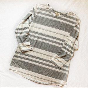 Davina Lace Grey Long Sleeve White Top Size L